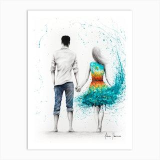 Ocean Sunset Love Art Print