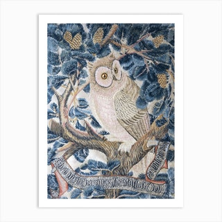Owl Embroidery, George Jack Stitched By Annie Jack Art Print