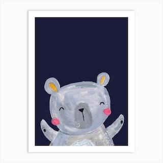 Woodland Bear On Navy Art Print