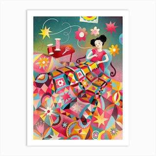 Magical Quilting Time Art Print