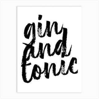 Gin And Tonic Bold Script Art Print