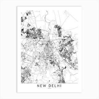 New Delhi White Map Art Print