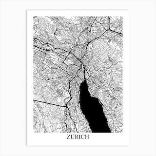 Zurich White Black Art Print