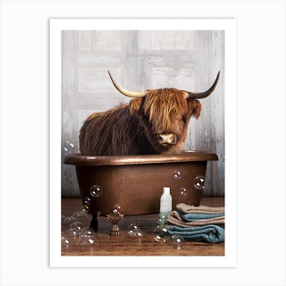 Highland Cow In A Bathtub Art Print