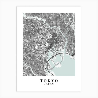 Tokyo Japan Street Map Minimal Color Art Print