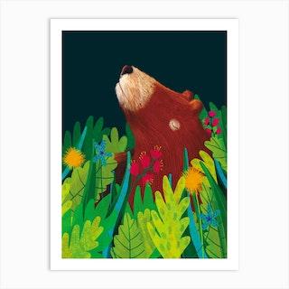 Grizzly Bear Foliage Art Print
