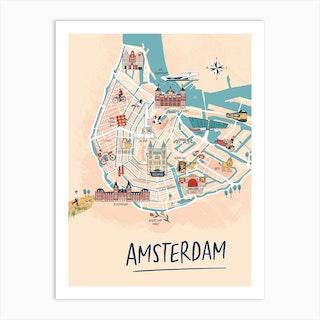 Amsterdam Illustrated Map Art Print
