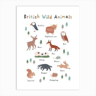 British Wild Animals Art Print