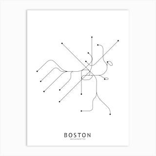 Boston Subway White Map Art Print