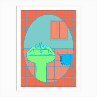 Bathroom Mirror Art Print