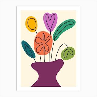 Mod Flowers In Vase Art Print