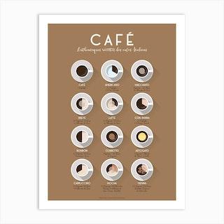 Authentiques Recettes Des Cafes Italiens Art Print