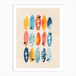 Surfing Board Light Art Print
