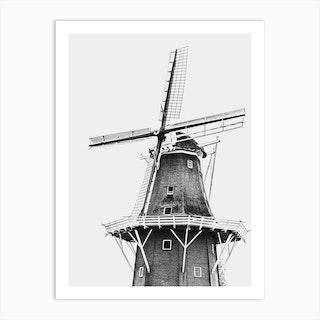 Dutch Windmill On White Background Art Print