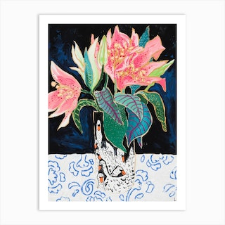 Pink Lily Bouquet In Swan Vase Dark Floral Painting Art Print