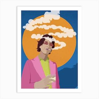 In A Haze Sunset Blue Art Print