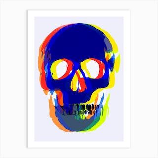 Blurred Skull Blue Art Print