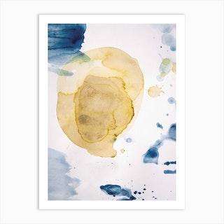Aquarelle Mustard Yellow Meets Sea Blue Art Print