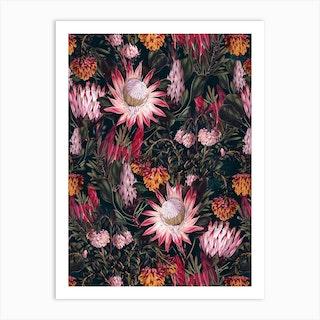 Protea Floral Night Pattern 2 Art Print