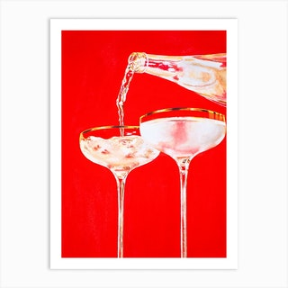 Red Sparkling Art Print