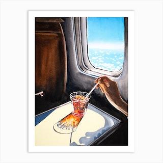 Glass In Airplane Art Print