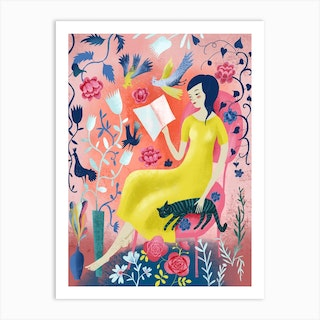 Woman Reading With Cat Art Print