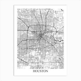 Houston Texas White Black Art Print