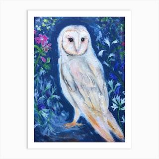 Owl And Wild Flowers Art Print