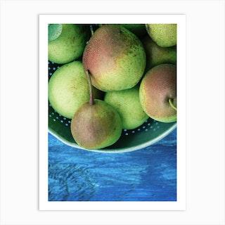 Green Pears On Blue Table Art Print