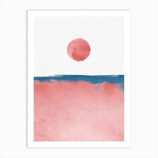 Minimal Landscape Pink And Navy Blue 02 Art Print
