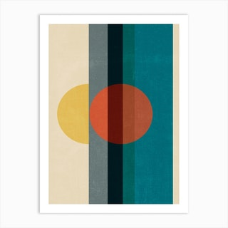 Mid Century Abstract Retros A Art Print