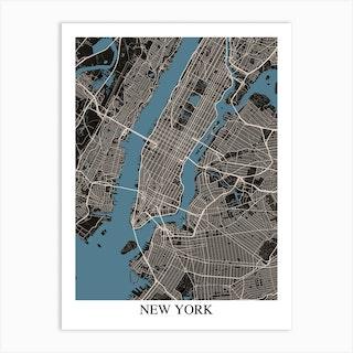 New York New York Black Blue Art Print