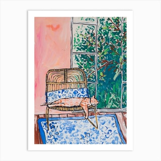 Napping Ginger Cat In Pink Garden Room Art Print
