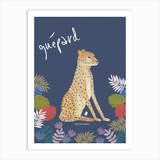 Cheetah In Deep Blue Art Print