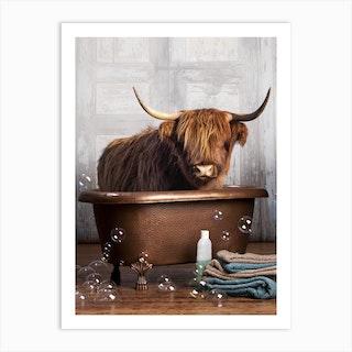 Highland Cow In A Bathtub Art Print