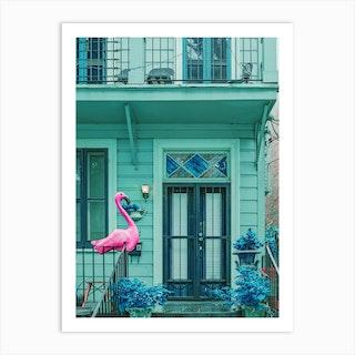 Pink Flamingo House Art Print