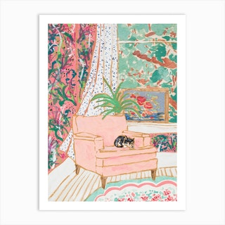 Cat Nap Tuxedo Cat Napping In Pink Interior Art Print