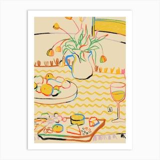 Yellow Tulips Wine And Cheese Art Print