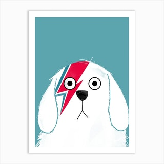 Dog Bowie White Art Print