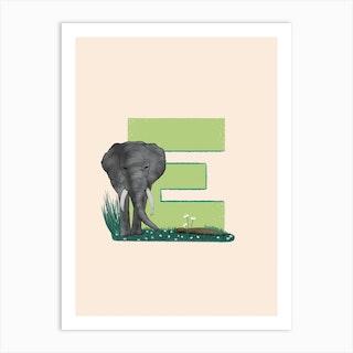 Letter E Elephant Art Print