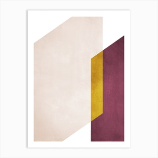 Intersection Of Shapes Marsala And Yellow Art Print