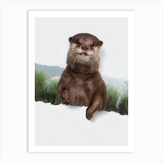 Otter Torn Paper Art Print