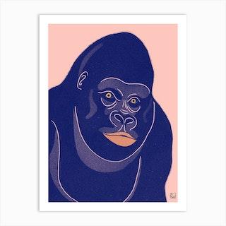Gorilla With Orange Background Art Print
