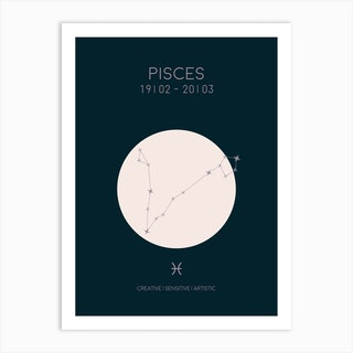 Pisces Star Sign In Dark Art Print