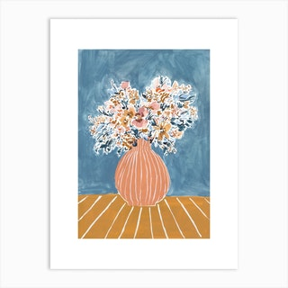 Stone Blue Peach And Mustard Floral Vase Art Print