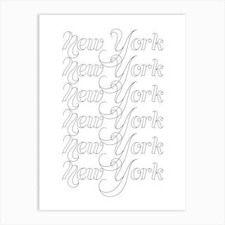 New York Word Outline 2 Art Print
