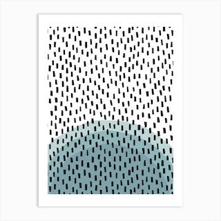 Mono Black And Blues Art Print