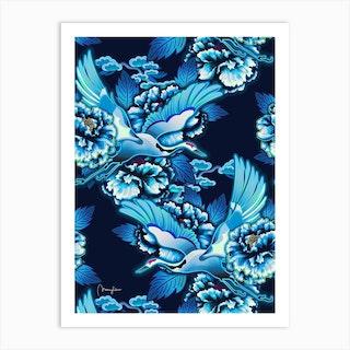 Crane Birds Cloudy Sky Art Print