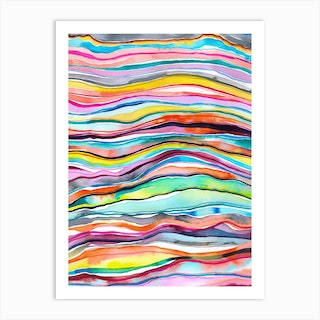 Mineral Layers Watercolor Colorful Art Print
