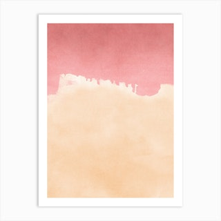 Minimal Landscape Pink And Yellow 01 Art Print